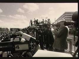 News media at the Memorial service at JSC for the Crew of STS 51-L