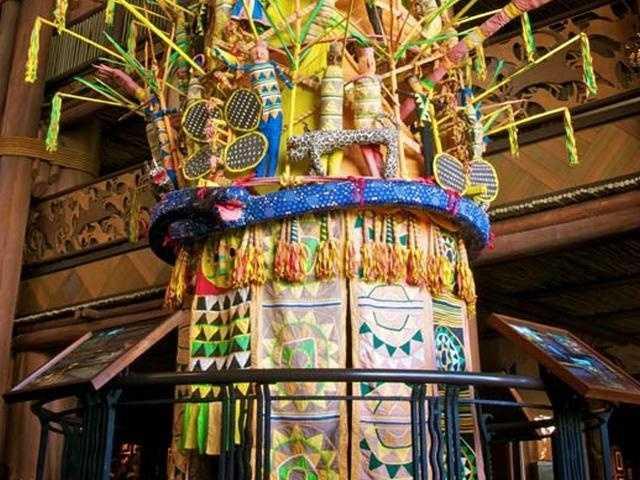 This massive 16-foot Igbo Ijele mask hangs in the lobby of Disney's Animal Kingdom Lodge.