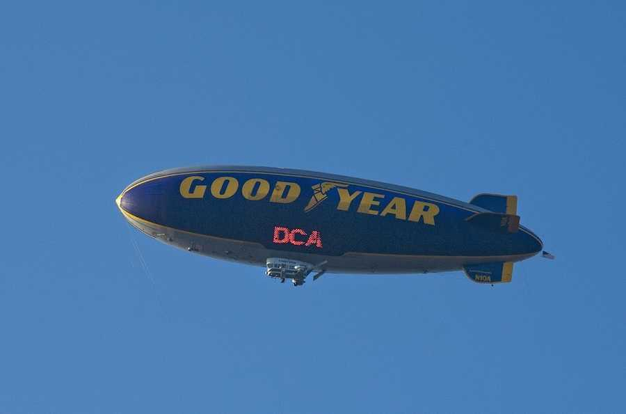 The Goodyear Blimp flew over Disney California Adventure park in Anaheim, California, June 13 to provide aerial coverage for the opening of Cars Land.