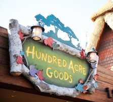 Did you get it right?  The leaves can be found on the Hundred Acre Goods sign at the Magic Kingdom.