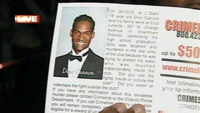 Police hand out fliers to find a killer