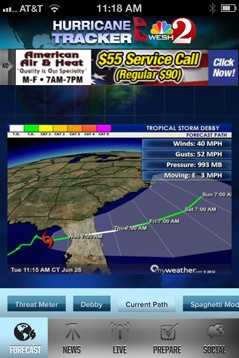 You'll also find information on a storm's current location and speed.