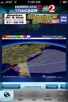 """The app also shows the """"spaghetti models,"""" or the various computer models that meteorologists use to predict a storm's path."""
