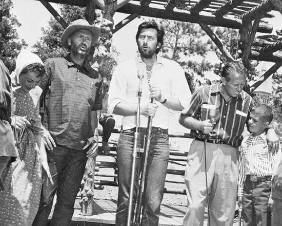"Among others rehearsing for their part in the the big show were television host Art Linkletter, and ""Davy Crockett"" stars Fess Parker and Buddy Ebsen, shown here in Frontierland before the broadcast."