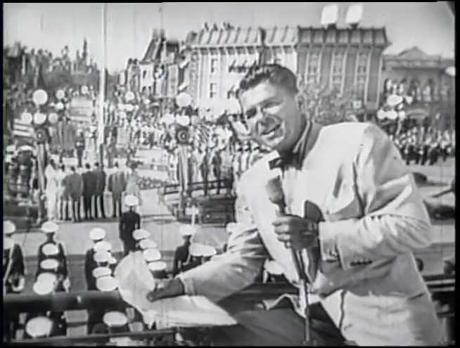 Ronald Reagan broadcasts from Disneyland's dedication ceremony on July 17, 1955.