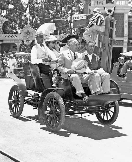 Walt Disney and California governor Goodwin Knight right down Main Street, U.S.A. during the rehearsal for the big dedication.