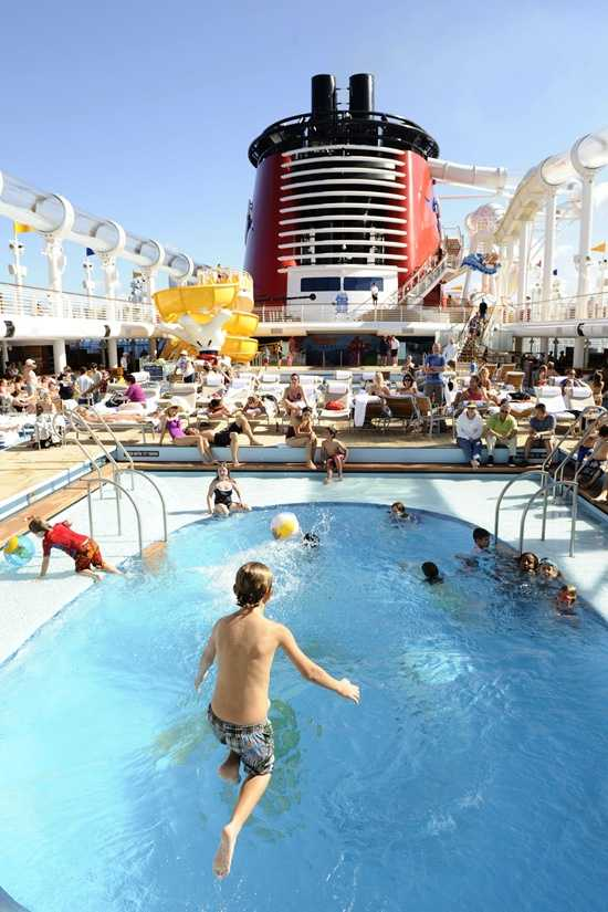 In Donald's Pool, families can hang out and get wet.  The pool is located in the middle of the Disney Fantasy.