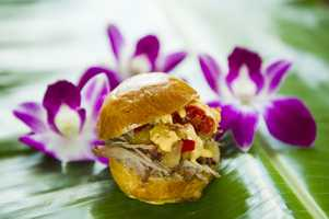 The Kalua Pork Slider (not the liqueur Kahlua but the Kalua barbecue method of cooking) returns to the Hawaii tasting marketplace.
