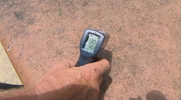 The eating surface of the table hit 130 degrees, according to our infrared thermometer.