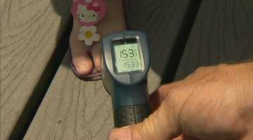 The temperature on the prefabricated walking boards within the playground itself measured 153 degrees.
