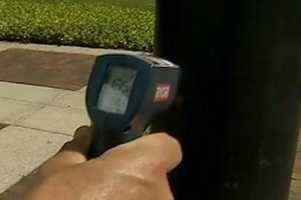 A black pole on the streets of downtown Orlando hit 135.