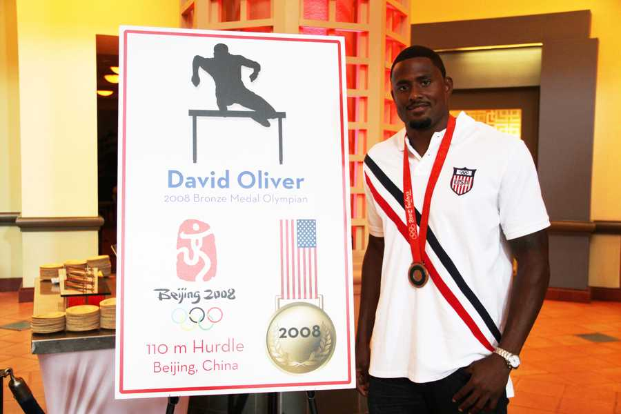 In 2008, David Oliver won a gold medal in Beijing for the 100m hurdles.