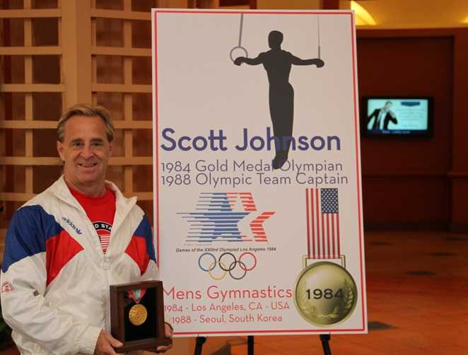 Scott Johnson competed in two Olympic games.  In 1984, he won a gold-medal and in 1988 he was the Olympic team captain.