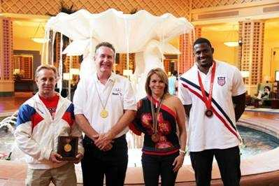 (Left to right) Scott Johnson ('84 and '88 gold-medal gymnast), Fred Tyler ('72 gold-medal swimmer), Wendy Bruce-Martin ('92 bronze-medal gymnast) and David Oliver ('08 bronze-medal hurdler)