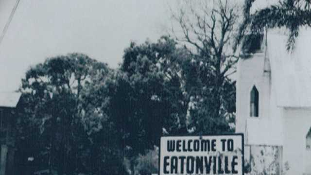 A historic photo of the town of Eatonville.