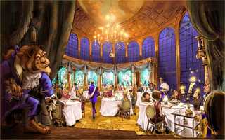 """The 'Enchanted Rose' from """"Beauty and the Beast"""" plays a significant part in the theme of the new Be Our Guest restaurant.  The restaurant will open at the Magic Kingdom in the new Fantasyland area. Guests can begin making reservations in August."""