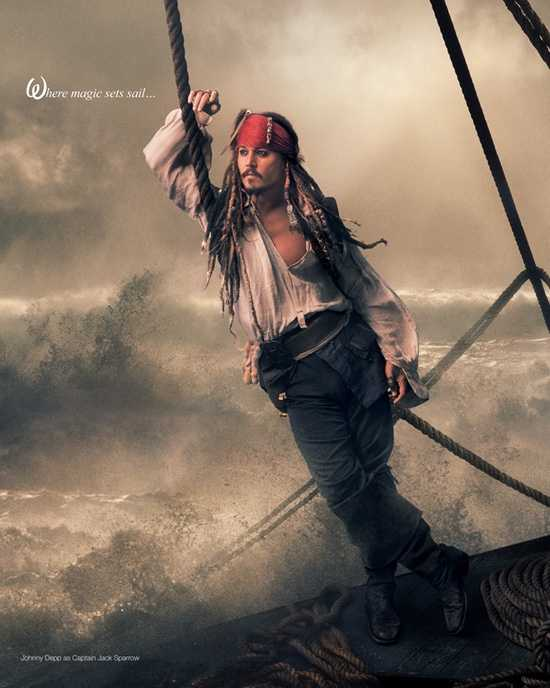 Johnny Depp portrays Captain Jack Sparrow in his Disney Dream portait.