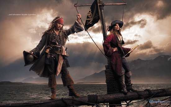 Johnny Depp and Patti Smith bring Pirates of the Caribbean to life in Annie Leibovitz's Disney Dream photo.