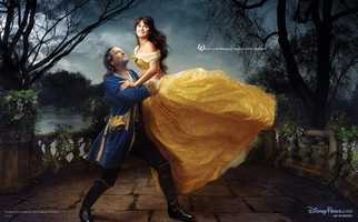"Penelope Cruz and Jeff Bridges appear as Belle and the transformed prince, recalling the final scene from ""Beauty and the Beast."""