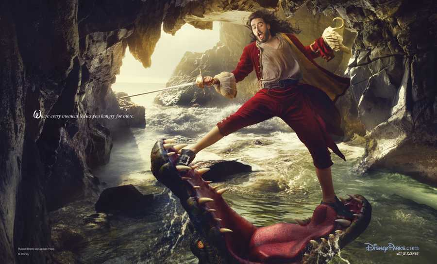 Russell Brand portrays Captain Hook from Peter Pan in his photo.