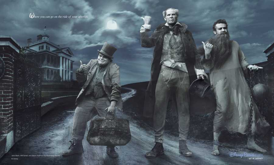 Jack Black, Will Ferrell and Jason Segel portray the Hitchhiking Ghosts from the Disney attraction, Haunted Mansion.