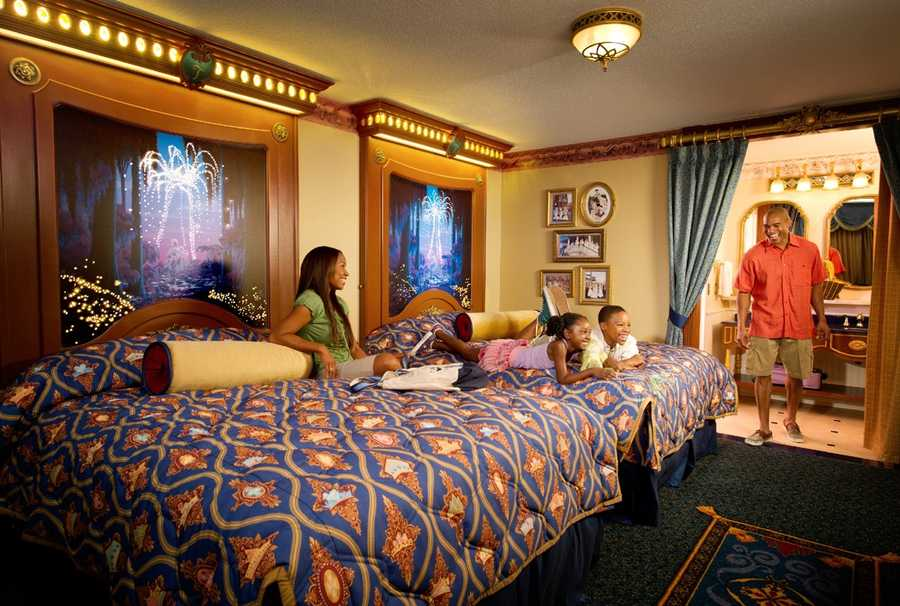 The Royal Guest Rooms at Disney's Port Orleans Riverside allows guests to feel like royalty.  Guests find regal touches left behind by some of their favorite Disney characters - fiber optics special effects above ornately decorated beds, gold and crystal accents, custom linens and drapes, and in-room art and details including Princely banners and Princess friends.