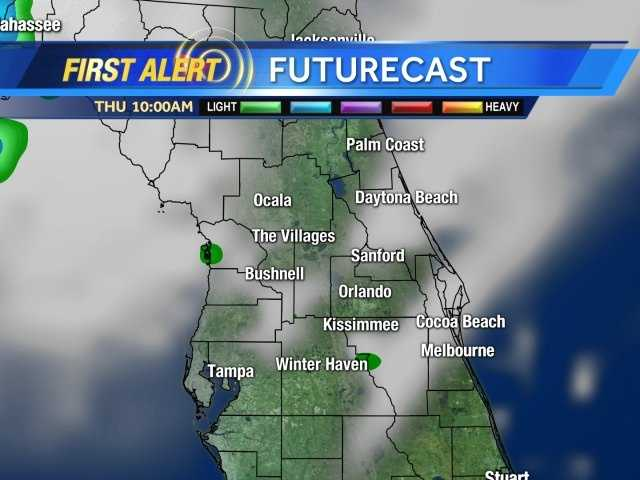 See an hour-by-hour view of rain expected Thursday afternoon.