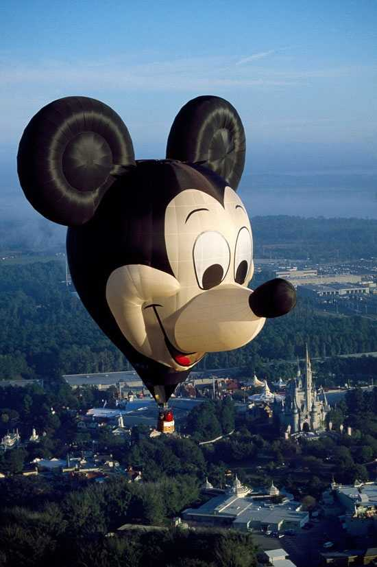 In honor of the 15th anniversary of the Walt Disney World Resort, a giant Mickey Mouse named Earforce One took to the sky in 1986.  The 10-story hot-air balloon was made in Bristol, England.