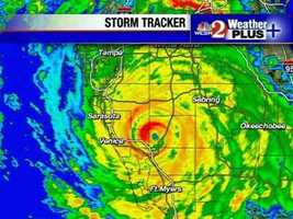 A radar image showing the reflectivity of Hurricane Charley as it moves through Central Florida.