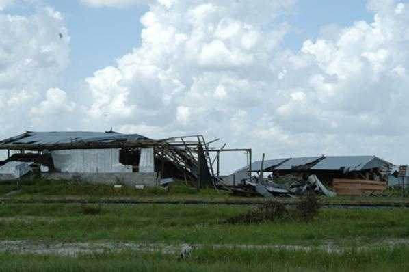 A FEMA picture shows damage on rural land in Central Florida.