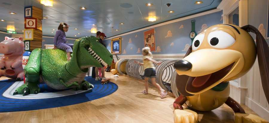 Kids get to play in Andy's Room on board the Disney Fantasy and Disney Dream.  Children get to experience being toy-sized as they play.