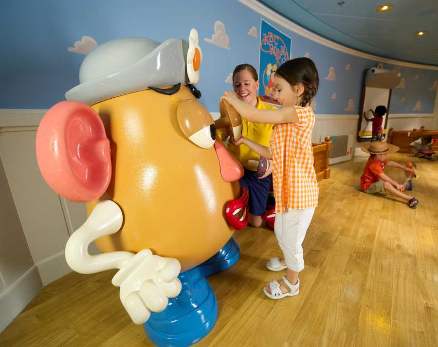 Dressing up and rearranging Mr. Potato Head is one of the features within Andy's Room in Disney's Oceaneer Club.