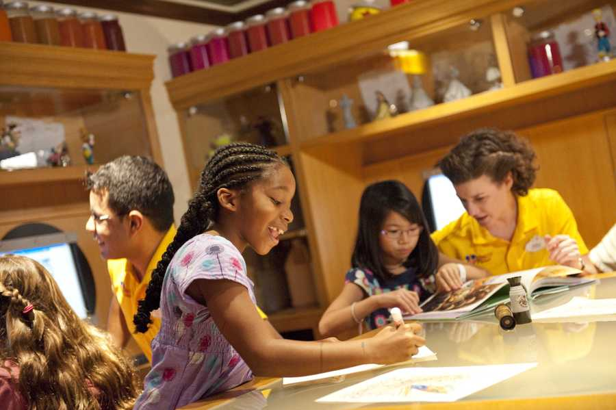 Children can learn how to sketch their favorite Disney character at the Animator's Studio.  Animation books, a light box table, drawing accessories, computer stations and other tools all help children bring their characters to life.