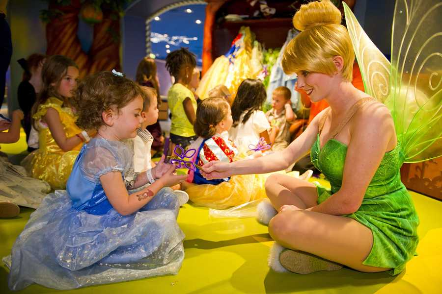 Sometimes Tinker Bell makes a special appearance for children at Pixie Hollow.