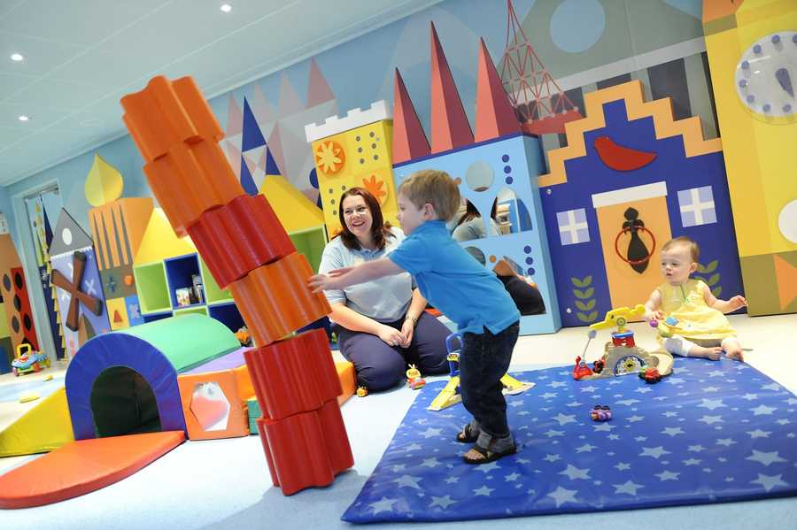 Children from 3 months old to 3 years old get to play in the It's a Small World Nursery.