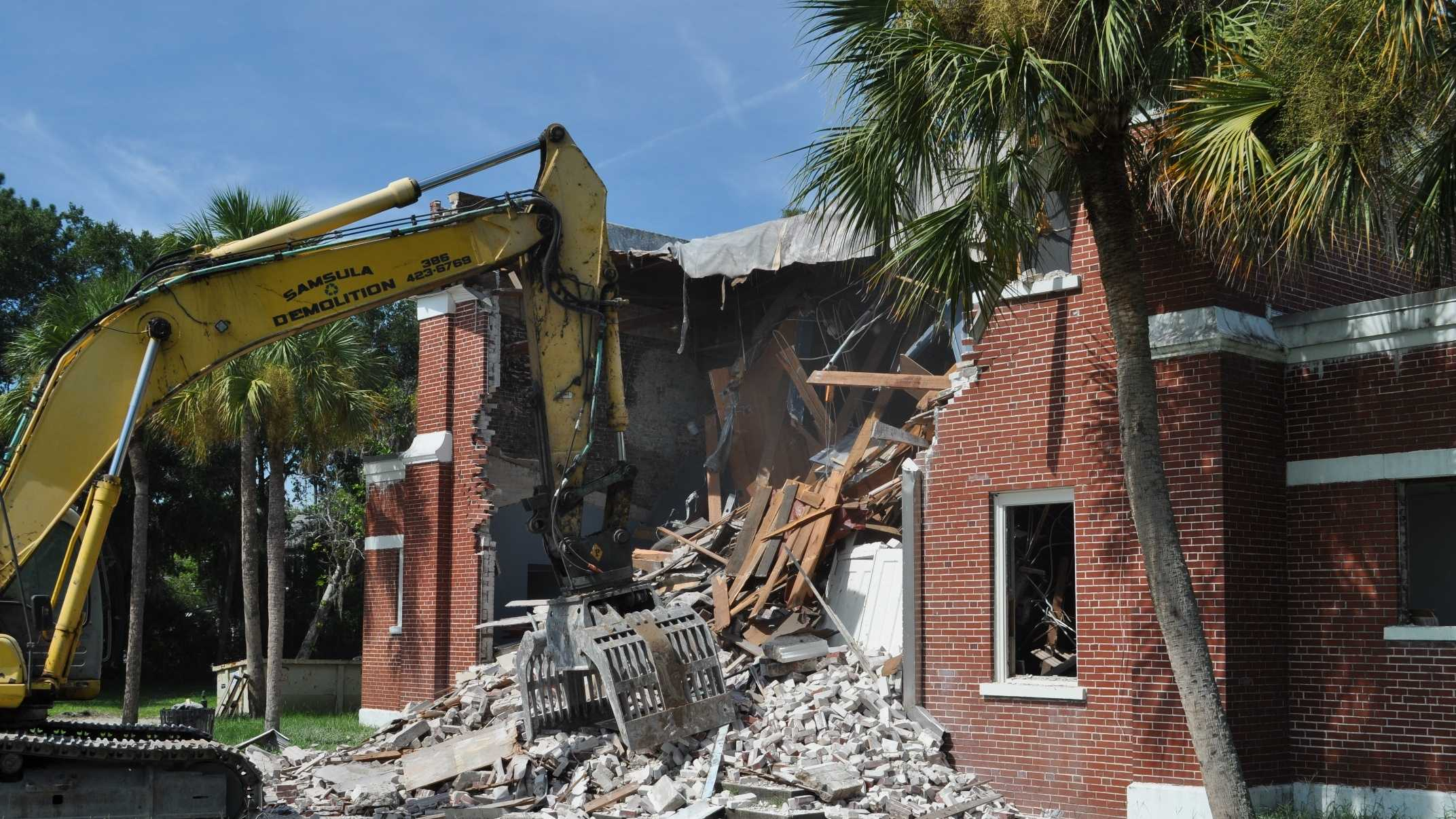 Demolition has twice been delayed but got under way Wednesday morning.  Officials said they are planning on a green space and parking lot at the theater site.