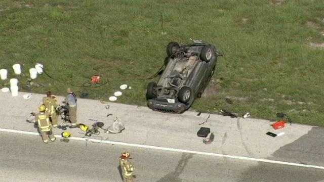 A crash shut down all lanes of Interstate 4 eastbound in Seminole County on Wednesday, causing a 6-mile backup.