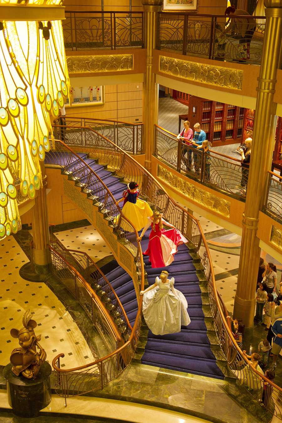 Minnie Mouse is located in the lobby of the Disney Fantasy.