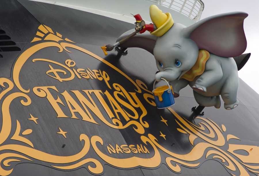 On the stern of the Disney Fantasy you will find Dumbo hanging out.