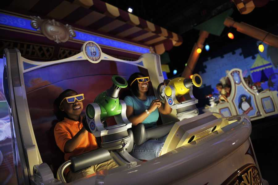 """It's a ride that's a game! It's a game that's a ride!"" can be heard in Toy Story Midway Mania."