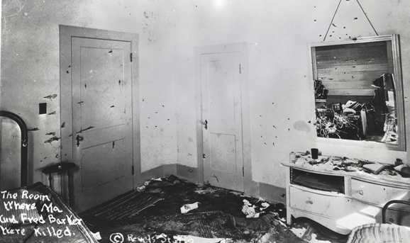 This FBI photo shows the room where Ma and Fred were killed.