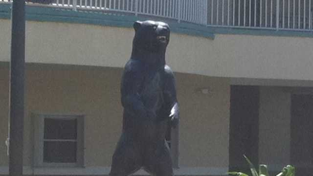 Bayside High School's mascot in Palm Bay was spray painted by vandals.