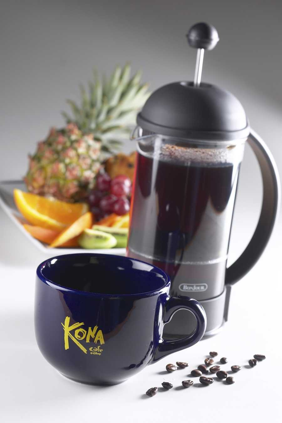 The Kona Cafe at Disney's Polynesian Resort serves authentic Kona coffee that is made from beans from Hawaii.  The area the beans are from is one of the most fertile regions in the state.  The beans get flown to Florida and then are roasted under Disney's strict specifications.