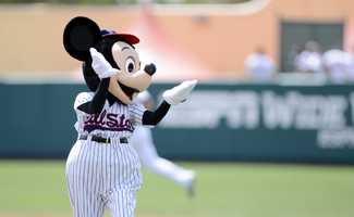 Mickey cheers on the home team at ESPN's Wide World of Sports complex.