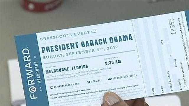 Some had waited in line since Thursday night to get tickets to President Barack Obama's event in Melbourne on Sunday.