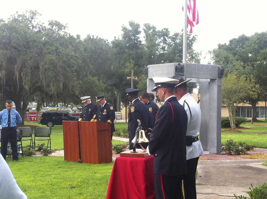Police and firefighters in Apopka came together Tuesday at Kit Land Park to remember those lost in the 9/11 attacks.