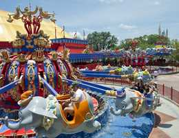 A look at both rotating Dumbo, the Flying Elephant squadrons in 2012.