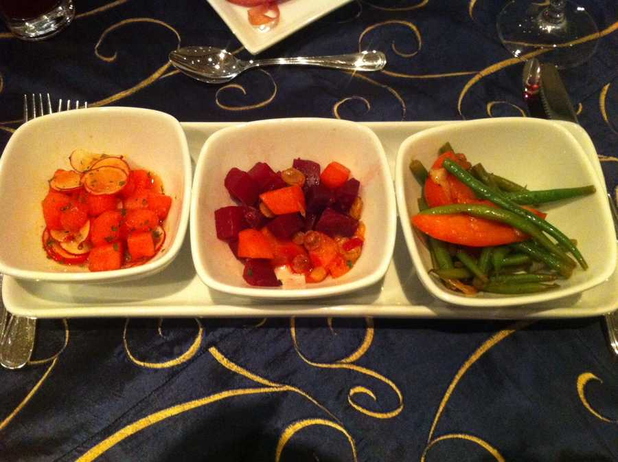 Salad Trio - Three individual bowls of : Roasted Beet, Gold Raisin, and Orange Salad&#x3B; Green Bean, Tomato, and Roasted Shallot Salad&#x3B; Watermelon, Radish, and Mint Salad