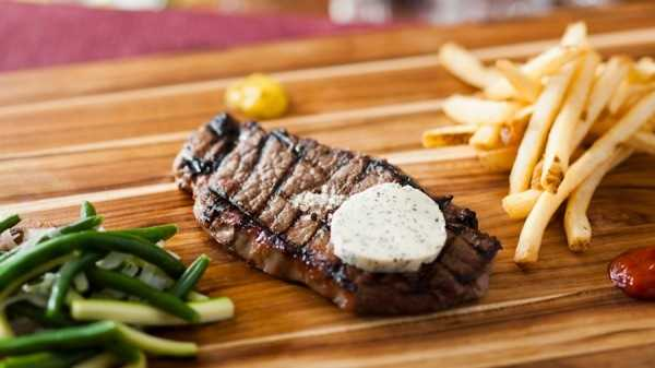 Grilled Strip Steak - with Garlic Butter Spread and Pommes Frites