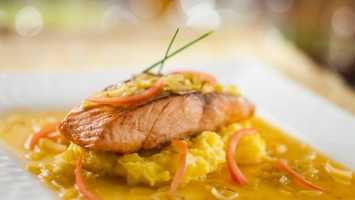 Pan-seared Salmon on Leek Fondue - served with Creamy Saffron-crushed Potatoes (See all menu items, more restaurant details)